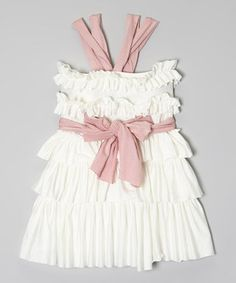Look at this #zulilyfind! Cream & Pink Ruffle Top & Sash - Infant, Toddler & Girls by Pixie Girls #zulilyfinds
