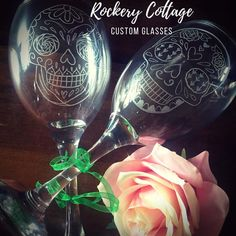 Sugar skull wine glasses sugar skull gifts day of the dead Personalised Glasses, Personalised Gifts, Handmade Gifts, Lettering Design, Hand Lettering, Skull Hand, Beautiful Gifts, Hand Engraving, Sugar Skull