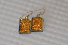 Gold dichroic art glass calli-dangle earrings handmade by callidesigns | GrapevineGlassArt - Jewelry on ArtFire