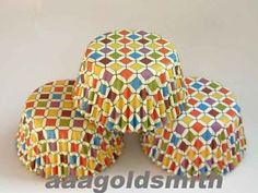 50pcs Elegant Mosaics Cupcake Liners Baking Paper Cup Muffin ...