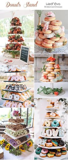 30 Best Wedding Donut Walls & Displays-Donuts Stand Wedding Dessert and Donut Bar wedding food ideas. There's no wedding without desserts of some kind, and usually it's a wedding cake or several cakes but more and more couple choose non-typical options. Cookie Bar Wedding, Donut Bar Wedding, Diy Wedding Food, Wedding Desserts, Wedding Catering, Wedding Cakes, Wedding Foods, Wedding Reception, Wedding Food Displays