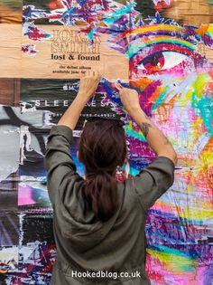 French Street Artist Manyoly Hits the Streets of Shoreditch, London with her vibrantly coloured paste-ups. French Street, Lost & Found, Street Artists, Graffiti, London, Artwork, Color, Work Of Art, Auguste Rodin Artwork