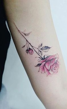 Watercolor Rose Arm Tattoo Ideas for Women - Small Colorful Flower Bicep Tat - www.MyBodiArt.com #tattoos