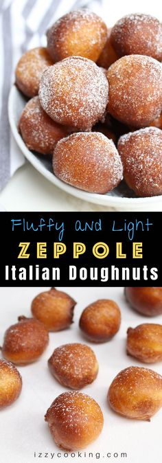Grandma's Zeppole Italian doughnuts are the easiest way to satisfy your donut cravings – light and fluffy on the inside and crispy on the onside. This zeppole recipe is so easy to make with a few simple ingredients. No finicky yeast required! Doughnuts Recipe No Yeast, Easy Donut Recipe, Donut Recipes, Cookie Recipes, Dessert Recipes, Crispy Donut Recipe, Easy Zeppole Recipe, Fluffy Doughnut Recipe, Dinner Ideas