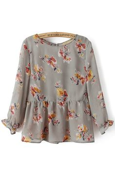 Floral Printing Falbala Cuff Layered Hem Chiffon Long Sleeves T-shirt