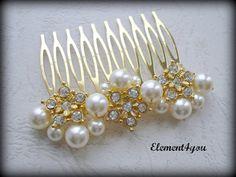 Gold hair comb Wedding bridal hair piece Swarovski ivory champagne pearls rhinestone flower gold fascinator veil tiara Fall wedding. $26.00, via Etsy.