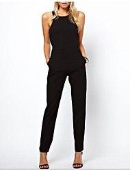 noir sans manches sexy combinaison mince des femmes