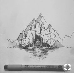 Super Ideas For Nature Drawings Pencil Sketches Illustrations Cool Drawings, Drawing Sketches, Beautiful Drawings, Stylo Art, Natur Tattoos, Pen Art, Art Inspo, Painting & Drawing, Amazing Art