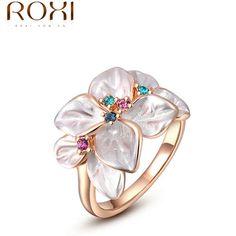 ROXI Exquisito rosa anillo colorido de la flor de oro plateado con AAA circón joyería de moda para las mujeres mejores regalos de Navidad 2010228290
