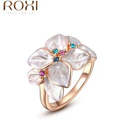 ROXI Exquisite rose golden colorful flower ring plated with AAA zircon fashion jewelry for women best Christmas gifts 2010228290 -- Click the image to find out more