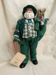Kurt Adler 10-inch Fabriche Irish Santa Holding Gifts in Toy sack New with Tag