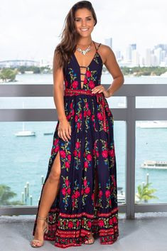 Get this pretty Navy Floral Maxi Dress with Tie Waist from Saved by the Dress Online Boutique. Adorable long dress with floral print. Navy Floral Maxi Dress, Boho Dress, Dress Skirt, Cute Dresses, Casual Dresses, Summer Dresses, Maxi Dresses, Awesome Dresses, Formal Outfits