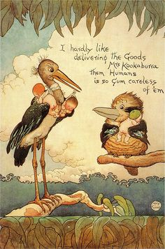 """""""I hardly like delivering the goods Mrs Kookaburra - them humans is so gum careless of 'em"""" (Dr Stork to Mrs Kookaburra) Poster produced for the Royal Society for the Welfare of Mothers and Babies in 1918 by May Gibbs. All Nature, Australian Artists, Magical Creatures, Nursery Rhymes, Thing 1, Vintage Children, Art Images, Illustrations Posters, Vintage Art"""