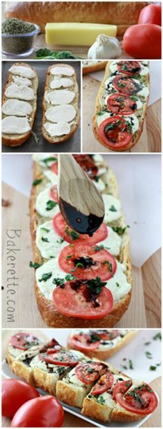 Caprese Garlic Bread is just what your next salad is calling for! Delish. by www.bakerette.com on www.cookingwithruthie.com #recipes #bread