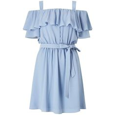 Blue Cold Shoulder Ruffle Dress (100 BRL) ❤ liked on Polyvore featuring dresses, blue dress, frilled dress, miss selfridge dresses, blue cold shoulder dress and miss selfridge