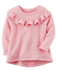 Give her super cute style with this girls' Carter's ruffled French terry top. Baby Girl Fashion, Toddler Fashion, Toddler Outfits, Kids Outfits, Kids Fashion, Fashion 2015, Toddler Shoes, Kids Girls Tops, Baby Girl Tops