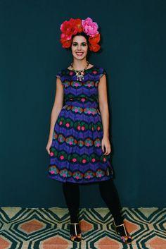 Knielange Kleider - Kleid Daisy PURPLE TIGERLILLY schwarz blau Damen - ein Designerstück von Bonnie-and-Buttermilk bei DaWanda.de dress print pruple vintage style