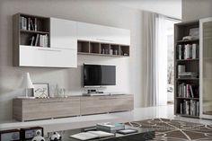 TWIST - Parete soggiorno moderna, in finitura larice grigio con ante finitura lucida colore bianco  , come foto  cm 270 x 45 x 205 h