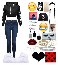 """""""Untitled #110"""" by colorkiller ❤ liked on Polyvore featuring Topshop, NIKE, POPbeauty, Rebecca Norman, BCBGMAXAZRIA, Bling Jewelry, Furla, Givenchy, Brika and Lime Crime"""