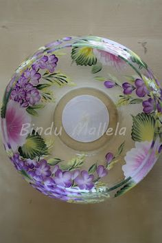 one stroke painting glassware - Yahoo Image Search Results Painted Wine Bottles, Painted Wine Glasses, My Glass, Glass Art, Painted Glass Blocks, Glass Painting Patterns, Donna Dewberry Painting, Glass Bottle Crafts, Painted Flower Pots