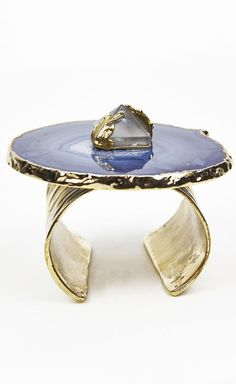 Yves Saint Laurent Rive Gauche Turquoise, Gold And Crystal Bracelet | VAUNTE