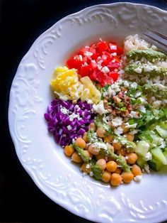 Healthy Mediterranean Buddha Bowl with Mint Dressing (Video Below) are a perfectly delicious anytime meal/snack that's filled with flavors and nutrition. Healthy Eating Recipes, Vegetarian Recipes, Protein Filled Foods, Indian Food Recipes, Whole Food Recipes, Lunches And Dinners, Meals, Chickpea Recipes, Buddha Bowl