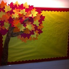 Fall Themed Bulletin Board...   Directions:   1. Brown butcher paper, I crumbled it to make the tree bark effect; staple on the bulletin board in the shape of a tree.  2. Cut multiple colors of leaves in fall colors; use a Ellison Dye-cut machine to finish in a timely manner.   3. Layer the leaves to create a 3-D effect. For the last few layers of leaves use masking tape or a hot glue gun to cover the staples. (Makes you FALL in love with it; doesn't it?)