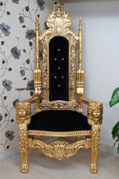 Lion Throne Chair in gold leaf BLACK velvet CRYSTAL buttons.