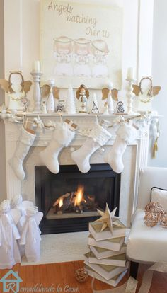 Angels watching over us - Christmas mantel