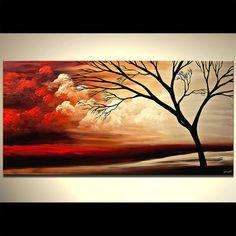 Rouge paysage abstrait tableau arbre noir peinture par OsnatFineArt