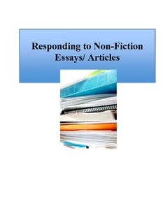 non fiction essays for high school An essential nonfiction reading list for high school and suggesting that part of the problem is that high school english curriculums are often lacking in good.