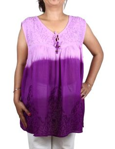 Women's Summer Top Rayon Colorful Tie Dye Embroidered Indian ShalinIndia http://www.amazon.in/dp/B00CO3RDKQ/ref=cm_sw_r_pi_dp_R-00tb073A21DXHQ