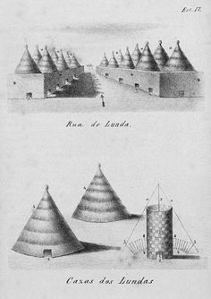 INDIGENOUS AFRICAN ARCHITECTURE 1897 drawing of Central African Luanda Housing Complex.Lunda dwellings displaying the Square and the Cone On Ground type of African Vernacular Architecture.