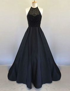 A line Black Prom Dress,Sexy Open Back Prom