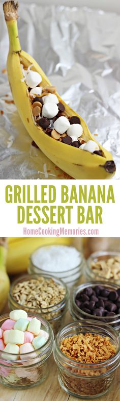 Easy, fun & SO GOOD! Sure to be a hit at your next BBQ! This post shows you how to make grilled bananas, plus gives you plenty of topping ideas for a DIY dessert bar.
