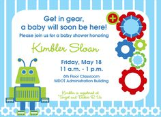 Baby shower invitation I did for my friend. Her room theme is robots.