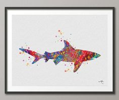 Hey, I found this really awesome Etsy listing at https://www.etsy.com/listing/194183225/shark-sea-life-watercolor-illustrations