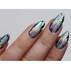 "This is probably the best picture I managed to get of these foils. This is the first time using foils for about 2 years and they were always a pain in the bum, but I'm super impressed with these ! I didn't go for the full nail cover look, as I think the ""grungy"" effect kinda looks cool"