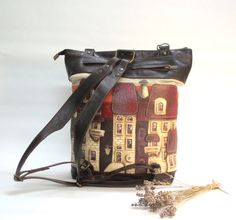 leather backpack, Leather bag with applique, soft leather, leather applique, hand-painted, painted backpack, backpack houses, brown backpack