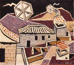 Χατζηκυριάκος-Γκίκας Νίκος (1906 - 1994) Στέγες και αετοί, 1948 Λάδι σε χαρτόνι