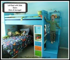 Boys Room Makeover | Do It Yourself Home Projects from Ana White Loft bed with stairs, and each stair is for toy storage. Put a reading nook/desk underneath instead of an additional bed.
