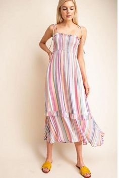 7f5eef980f Gilli Multicolor Stripes Smock Dress. Debra s Passion Boutique