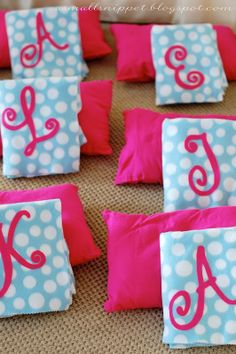 Pajama party decoration ideas... Blankets, felt initials glued with stitch witchery, pillows... love the idea!