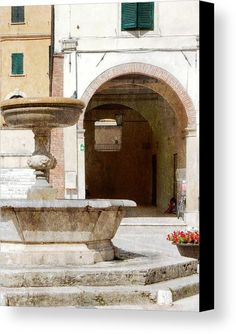 Fountain Canvas Print featuring the photograph Fountain In The Main Square Cetona by Dorothy Berry-Lound #cetona #tuscany #italianlife