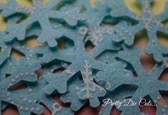 Ice Blue Snowflakes Patterned Felt Flakes Felt by PrettyDieCuts