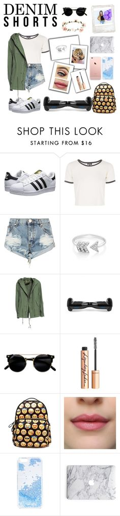 """L.A. Girl"" by bamrit ❤ liked on Polyvore featuring adidas Originals, Topshop, One Teaspoon, EF Collection, Mr & Mrs Italy, Charlotte Tilbury, Skinnydip, Accessorize, Polaroid and jeanshorts"