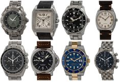 """We have posted 8 more watches to the site:  Omega Speedmasters, Rolex """"Smurf"""" Sub, Panerai """"Ghost"""" GMT, Cartier Santos  Chrono, Grand Seiko Spring Drive, Movado Cushion, and a Tutima Chrono.  Swing by the site for photos and pricing! Cartier Santos, Popular Watches, Mechanical Watch, Whats New, Seiko, Omega, Rolex, Cushion, Spring"""