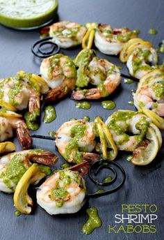 A simple marinade and a quick fresh basil pesto - you'll never make plain grilled shrimp again!
