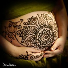 henna pregnancy celebration- I love the little wise owl on the side