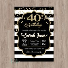 40th birthday invitation women 40th birthday by DamabDigital